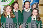 BIG BRAINS: The pupils of Scoil Naomh Eoin Baiste, Lispole who competed in the Chapter 23 of the Irish League of Credit Unions table quiz at the Gleneagle hotel, Killarney on Sunday l-r: Ellen Ni? Ghra?inne, Ruby Verling, Cla?r Ni? Mhuirthile and Louise Ni? Mhuircheartaigh.