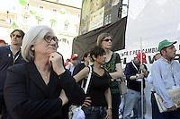 Roma, 16 Giugno 2012.Manifestazione nazionale dei sindacati Cgil, Cisl e Uil contro la riforma del lavoro. Piazza del Popolo.Rosy Bindi durante il comizio di Susanna Camusso.
