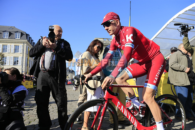 Michael Morkov (DEN) Team Katusha Alpecin at sign on for the 115th edition of the Paris-Roubaix 2017 race running 257km Compiegne to Roubaix, France. 9th April 2017.<br /> Picture: Eoin Clarke | Cyclefile<br /> <br /> <br /> All photos usage must carry mandatory copyright credit (&copy; Cyclefile | Eoin Clarke)