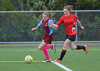 Action from the 2019 Grant Jarvis NZ Secondary Schools Girls' 1st XI tournament match between Feilding High School and Inglewood High School at Memorial Park in Petone, New Zealand on Wednesday, 4 September 2018. Photo: Dave Lintott / lintottphoto.co.nz