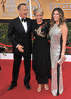 Tom Hanks, wife Rita Wilson &amp; Emma Thompson at the 20th Annual Screen Actors Guild Awards at the Shrine Auditorium.<br /> January 18, 2014  Los Angeles, CA<br /> Picture: Paul Smith / Featureflash
