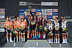 The podium Canyon-SRAM 1st, Boels Dolmans Cycling Team 2nd and Team Sunweb Women 3rd at the end of the Women's Team Time Trial of the 2018 UCI Road World Championships running 54.7km from Ötztal to Innsbruck, Innsbruck-Tirol, Austria 2018.<br /> Picture: Innsbruck-Tirol 2018/Dario Belingheri | Cyclefile<br /> <br /> <br /> All photos usage must carry mandatory copyright credit (© Cyclefile | Dario Belingheri/Innsbruck-Tirol 2018)