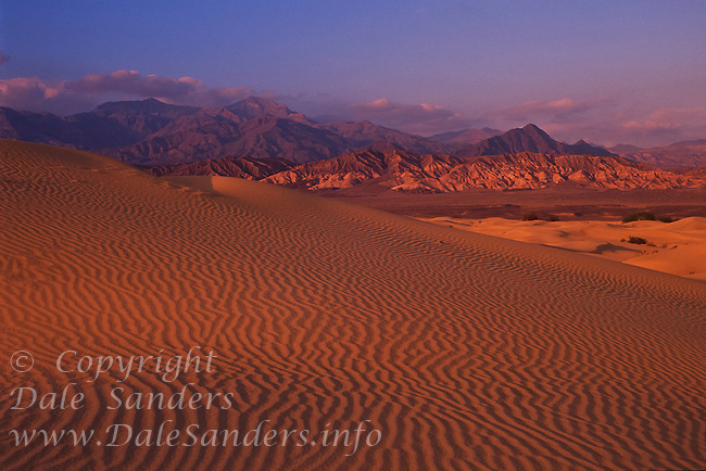 Sunset in the giant sand dunes of Death Valley National Park, California, USA.