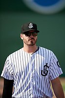 Jackson Generals Cole Stapler (38) before a Southern League game against the Mississippi Braves on July 23, 2019 at The Ballpark at Jackson in Jackson, Tennessee.  Jackson defeated Mississippi 2-0 in the first game of a doubleheader.  (Mike Janes/Four Seam Images)