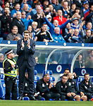 28.04.2019 Rangers v Aberdeen: Steven Gerrard celebrates as James Tavernier hits his penalty into the net