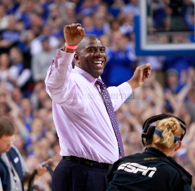 """Magic Johnson was the honorary """"Y"""" at the half of the game against the Gamecocks at Rupp Arena on Thursday. Enjoying the Cat's lead at the half Johnson performed the """"John Wall Dance"""" for the crowd. Photo by Zach Brake   Staff."""
