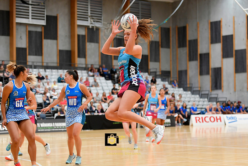 Steel Kate Hefferman in action during the Netball Pre Season Tournament - Mystics v Steel at Ngā Purapura, Otaki, New Zealand on Saturday 9 February  2019. <br /> Photo by Masanori Udagawa. <br /> www.photowellington.photoshelter.com