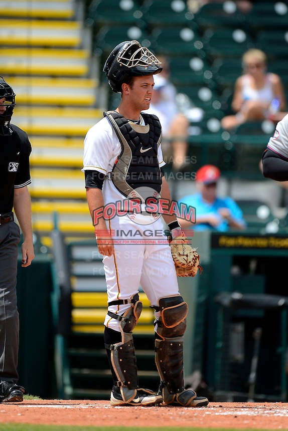 Bradenton Marauders catcher Jacob Stallings #5 during a game against the Fort Myers Miracle at McKechnie Field on April 7, 2013 in Bradenton, Florida.  Fort Myers defeated Bradenton 9-8 in ten innings.  (Mike Janes/Four Seam Images)
