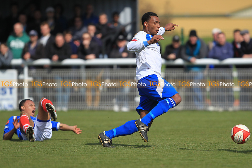 Jemel Fox (left) Dislocates elbow on contact with the floor - Enfield Town vs Leiston - Ryman League Division One North Football at the Queen Elizabeth II Stadium - 21/04/12 - MANDATORY CREDIT: Simon Roe/TGSPHOTO - Self billing applies where appropriate - 0845 094 6026 - contact@tgsphoto.co.uk - NO UNPAID USE.