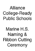Alliance Marine H.S. Naming and Ribbon Cutting