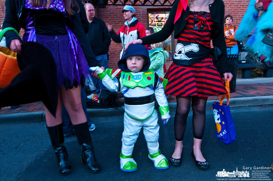 Child dressed in Halloween costume for Midnight Madness in Uptown Westerville the Friday before Halloween.