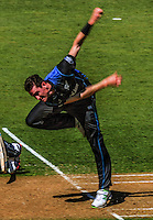 Adam Milne bowls during the ICC Cricket World Cup one day pool match between the New Zealand Black Caps and England at Wellington Regional Stadium, Wellington, New Zealand on Friday, 20 February 2015. Photo: Dave Lintott / lintottphoto.co.nz