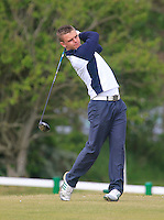David Byrne (Greystones) on the 1st tee during the 3rd round of the East of Ireland Amateur Open Championship 2013 Co Louth Golf club 3/6/13<br /> Picture:  Thos Caffrey / www.golffile.ie