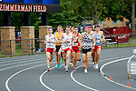 28 MAY 2016: The men's 3000 meter steeplechase enters its second lap during the Division III Men's and Women's Outdoor Track & Field Championship held at Walston Hoover Stadium on the Wartburg College campus in Waverly, IA. Ryan Bugler of St. John's (Minn.) won the race with a time of 9:11.98. Conrad Schmidt/NCAA Photos