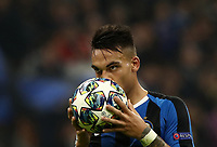 Football Soccer: UEFA Champions League -Group Stage- Group F Internazionale Milano vs Borussia Dortmund, Giuseppe Meazza stadium, October 23, 2019.<br /> Inter's Lautaro Martinez kiss the ball before kicking a penalty during the Uefa Champions League football match between Internazionale Milano and Borussia Dortmund at Giuseppe Meazza (San Siro) stadium, on October 23, 2019.<br /> UPDATE IMAGES PRESS/Isabella Bonotto