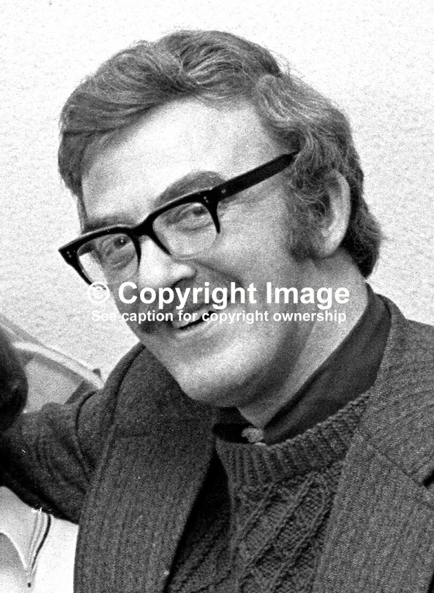 Marc Mulholland, broadcaster, sport, BBC Sunday Sport, N Ireland, UK, February, 1976, 197602190101<br /> <br /> Copyright Image from Victor Patterson, 54 Dorchester Park, Belfast, UK, BT9 6RJ<br /> <br /> Tel: +44 28 9066 1296<br /> Mob: +44 7802 353836<br /> Voicemail +44 20 8816 7153<br /> Email: victorpatterson@me.com<br /> Email: victorpatterson@gmail.com<br /> <br /> IMPORTANT: My Terms and Conditions of Business are at www.victorpatterson.com