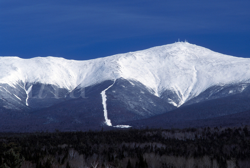 Mount Washington, Bretton Woods, NH, New Hampshire, Scenic view of the Presidential Range on Mt. Washington in the White Mountain National Forest in the winter.