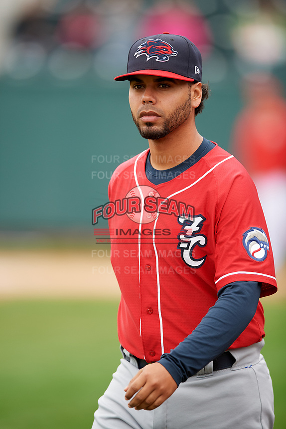 New Hampshire Fisher Cats coach Andy Fermin (2) warms up before the first game of a doubleheader against the Harrisburg Senators on May 13, 2018 at FNB Field in Harrisburg, Pennsylvania.  New Hampshire defeated Harrisburg 6-1.  (Mike Janes/Four Seam Images)