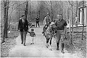 "United States President John F. Kennedy, John F. Kennedy, Jr., Caroline Kennedy ( riding ""Tex"" ) at Camp David, near Thurmont, Maryland, March 31, 1963..Mandatory Credit: Robert Knudsen / White House via  CNP"