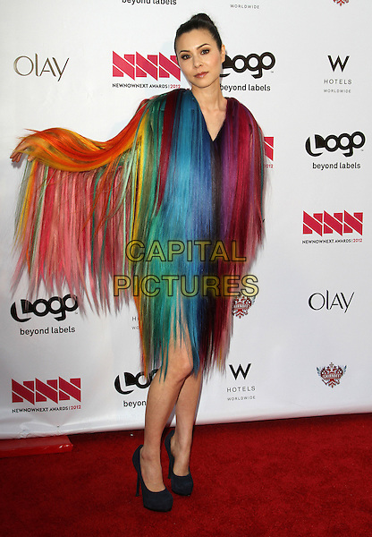 China Chow.LOGO's 2012 'NewNowNext' Awards held at Avalon, Hollywood, California, USA..5th April 2012.full length black dress shoes feathers fur sleeve hand arm pink red yellow green blue.CAP/ADM/FS.©Faye Sadou/AdMedia/Capital Pictures.