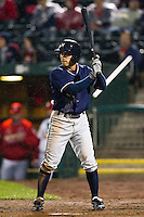Anthony Seratelli (2) of the Northwest Arkansas Naturals at bat during a game against the Springfield Cardinals on May 13, 2011 at Hammons Field in Springfield, Missouri.  Photo By David Welker/Four Seam Images.