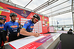 D'Amico Um Tools team at sign on before the start of Stage 2 of Il Giro di Sicilia running 236km from Capo d'Orlando to Palermo, Italy. 4th April 2019.<br /> Picture: LaPresse/Massimo Paolone | Cyclefile<br /> <br /> <br /> All photos usage must carry mandatory copyright credit (© Cyclefile | LaPresse/Massimo Paolone)