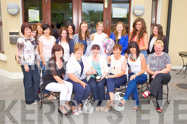 HEN TIME: Kelly Anne Reidy, Lissard, Tralee (originally Croagh, Limerick) having a great time with family and friends at her Hen Party at O'Donnell's restaurant and bar, Tralee on Saturday seated l-r: Joan Mooney, Anne Reidy, Kelly Anne Reidy, Joan O'Connor, Geraldine O'Connor and Ann O'Connor. Back l-r: Mary McMahon, Deirdre Reidy, Bernie Madigan, Mags Sheehy, Linda Madigan, Mairesd Falvey, Tara O'Connor, Sharon Murphy, Aine Reidy, Amy O'Conno and Laura Mooney.