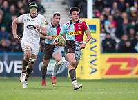 Harlequins' Marcus Smith in action during todays match<br /> <br /> Photographer Bob Bradford/CameraSport<br /> <br /> Aviva Premiership Round 14 - Harlequins v Wasps - Sunday 11th February 2018 - Twickenham Stoop - London<br /> <br /> World Copyright &copy; 2018 CameraSport. All rights reserved. 43 Linden Ave. Countesthorpe. Leicester. England. LE8 5PG - Tel: +44 (0) 116 277 4147 - admin@camerasport.com - www.camerasport.com