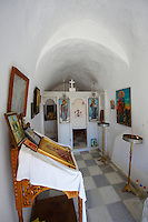 Interior of Greek Orthodox Chapel with Icons - Naxos Cyclades Islands, Greece