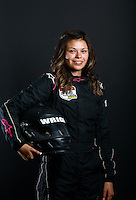 Mar. 21, 2014; Chandler, AZ, USA; LOORRS modified kart driver Trisha Wright poses for a portrait prior to round one at Wild Horse Motorsports Park. Mandatory Credit: Mark J. Rebilas-USA TODAY Sports