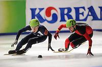 SCHAATSEN: DORDRECHT: Sportboulevard, Korean Air ISU World Cup Finale, 10-02-2012, Semen Elistratov RUS (72), Paul Herrmann GER (28), ©foto: Martin de Jong