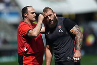 Joe Marler of England is seen to during the pre-match warm-up. Quilter Cup International match between England and the Barbarians on May 27, 2018 at Twickenham Stadium in London, England. Photo by: Patrick Khachfe / Onside Images