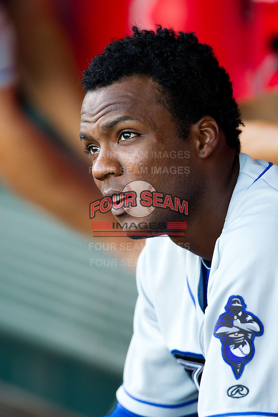 Hector Gomez (5) of the Tulsa Drillers sits in the dugout during a game against the Springfield Cardinals at Hammons Field on July 19, 2011 in Springfield, Missouri. Tulsa defeated Springfield 17-11. (David Welker / Four Seam Images)