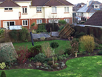 BNPS.co.uk (01202 558833)<br /> Pic: StephenPowell/BNPS.<br /> <br /> Cut a swathe through the back gardens....<br /> <br /> Homeowners are counting the cost today after a 'tornado' hit a south coast town overnight.<br /> <br /> Residents in Barton-on-Sea, Hants, were woken at 4am as the twister blasted its way through the town like an 'express train'. <br /> <br /> The strength of the winds of up to 80mph shook numerous houses, sending roof tiles smashing to the ground.<br />  <br /> A 30ft long brick wall collapsed under the strength of the gusts while fence panels were flung through the air.<br /> <br /> Part of a garden shed that had been picked up by the tornado smashed a hole through the windscreen of a car.
