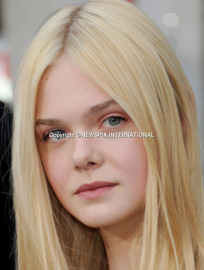 """ELLE FANNING.attends the Los Angeles Premiere of """"Super 8"""" at the Regency Village Theater on June 8, 2011, Westwood, California.Mandatory Photo Credit: ©Crosby/Newspix International. .**ALL FEES PAYABLE TO: """"NEWSPIX INTERNATIONAL""""**..PHOTO CREDIT MANDATORY!!: NEWSPIX INTERNATIONAL(Failure to credit will incur a surcharge of 100% of reproduction fees)..IMMEDIATE CONFIRMATION OF USAGE REQUIRED:.Newspix International, 31 Chinnery Hill, Bishop's Stortford, ENGLAND CM23 3PS.Tel:+441279 324672  ; Fax: +441279656877.Mobile:  0777568 1153.e-mail: info@newspixinternational.co.uk"""
