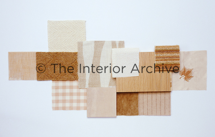 A collection of fabric swatches illustrating the colour range from butter to biscuit