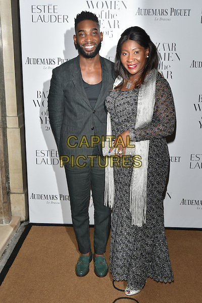 Tinie Tempah and his mother Rosemary Okogwu <br /> Harper's Bazaar Women of the Year 2015 awards,  Claridges Hotel n London, November 03, 2015.<br /> CAP/PL<br /> &copy;Phil Loftus/Capital Pictures