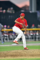 Johnson City Cardinals relief pitcher Enrique Perez (28) delivers a pitch during game one of the Appalachian League Championship Series against the Burlington Royals at TVA Credit Union Ballpark on September 2, 2019 in Johnson City, Tennessee. The Royals defeated the Cardinals 9-2 to take the series lead 1-0. (Tony Farlow/Four Seam Images)