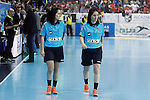 French referees Charlotte Bonaventura and Julie Bonaventura during 2018 Men's European Championship Qualification 2 match. November 2,2016. (ALTERPHOTOS/Acero)