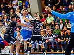 Loenn, Adam (TVB Stuttgart #11) / Harald Reinkind, (THW Kiel #6) / Ole Rahmel, (THW Kiel #22) / TVB 1898 Stuttgart - THW Kiel / DHB Pokal Viertelfinale / HBL / 1.Handball-Bundesliga / SCHARRrena / Stuttgart Baden-Wuerttemberg / Deutschland beim Spiel im DHB Pokal Viertelfinale, TVB 1898 Stuttgart - THW Kiel.<br /> <br /> Foto © PIX-Sportfotos *** Foto ist honorarpflichtig! *** Auf Anfrage in hoeherer Qualitaet/Aufloesung. Belegexemplar erbeten. Veroeffentlichung ausschliesslich fuer journalistisch-publizistische Zwecke. For editorial use only.