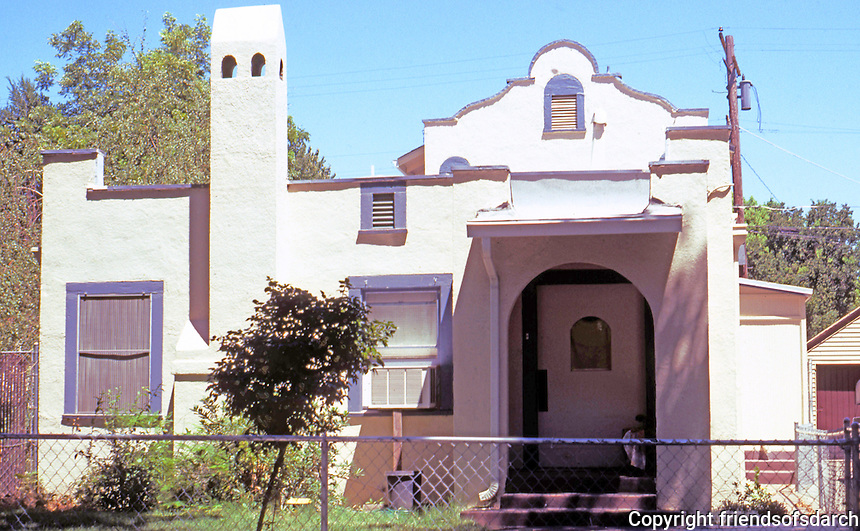Modesto CA: A funny Mission style bungalow, 129 Grant St. Circa 1915?  I just chanced on this!  Photo 2000.