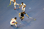 Berlin, Germany, February 10: During the FIH Indoor Hockey World Cup semi-final match between Germany (black) and Iran (white) on February 10, 2018 at Max-Schmeling-Halle in Berlin, Germany. Final score 6-2. (Photo by Dirk Markgraf / www.265-images.com) *** Local caption *** Tobias HAUKE #13 of Germany