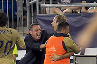 Philadelphia Union coach Peter Nowak celebrates Philadelphia Union midfielder Justin Mapp (22) goal. The Philadelphia Union defeated New England Revolution, 2-1, at Gillette Stadium on August 28, 2010.