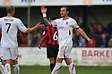 Danny Kedwell of Wimbledon celebrates scoring their fourth goal with Sam Hatton during the Blue Square Bet Premier match between Histon and AFC Wimbledon at the Glass World Stadium, Histon on 16th April, 2011.© Kevin Coleman 2011.