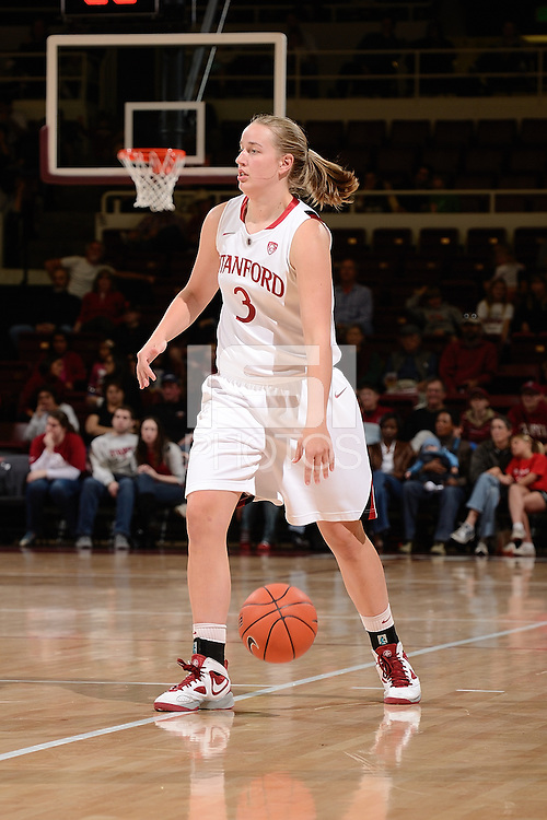 STANFORD, CA - NOVEMBER 26: Mikaela Ruef of Stanford women's basketball surveys her options in a game against South Carolina on November 26, 2010 at Maples Pavilion in Stanford, California.  Stanford topped South Carolina, 70-32.
