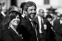 """Maria Elisabetta Alberti Casellati (President of the Senate), Roberto Fico (President of the Chamber of Deputies).<br /> <br /> Rome, 02/06/2019. Today, Italy celebrated the annual """"Festa Della Repubblica"""" (Republic Day, 1.). The 73rd Anniversary of the Italian Republic (*) was marked with the """"Raising the Flag Ceremony"""" and the tribute to the Sacello del Milite Ignoto (Unknown Soldier) at the Altare della Patria """"Vittoriano"""" (2.) by the President of the Italian Republic Sergio Mattarella, followed by the traditional army, veterans and civilians parade along Via Dei Fori Imperiali. This year, the President of the Republic was accompanied by the Defence Minister Elisabetta Trenta, the Italian Prime Minister Giuseppe Conte, the Presidents of the two Chambers of the Parliament, Roberto Fico and Maria Elisabetta Alberti Casellati, several members of the Italian Government, political leaders, senior officers of the Armed Forces and representatives of the Civilian Organizations. At the end of the events the Frecce Tricolori, the Italian Aerobatic Team, coloured the sky over Rome with the Tricolore (Tricolour: Green, White, Red) of the Italian Flag. The theme for this year's event was inclusiveness. <br /> <br /> Footnotes and Links:<br /> (*) The Referendum was held on 2 June 1946 and it marked the decision made by the Italian people to adopt the Republic as the new institutional form for the Country. <br /> 1. http://bit.do/eT8By (ITA) & http://bit.do/eT8Bv (ENG) at https://www.difesa.it/<br /> 2. http://bit.do/eT8BG (Wikipedia)"""