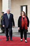 Palestinian President Mahmoud Abbas welcomes Malta's President Marie-Louise Coleiro Preca during a reception ceremony, in the West Bank city Ramallah, on January 31, 2019. Photo by Thaer Ganaim