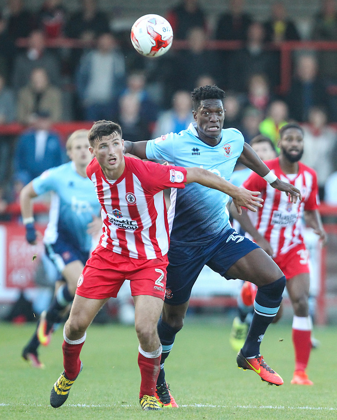 Blackpool's Armand Gnanduillet battles with Accrington Stanley's Matty Pearson<br /> <br /> Photographer Alex Dodd/CameraSport<br /> <br /> The EFL Sky Bet League Two - Accrington Stanley v Blackpool - Saturday 15th October 2016 - Wham Stadium - Accrington<br /> <br /> World Copyright &copy; 2016 CameraSport. All rights reserved. 43 Linden Ave. Countesthorpe. Leicester. England. LE8 5PG - Tel: +44 (0) 116 277 4147 - admin@camerasport.com - www.camerasport.com
