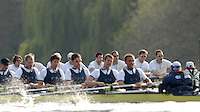 London, GREAT BRITAIN, Oxford closest and Cambridge race along Dukes Meadows as the crews approach Barnes Bridge, during the 2007 Boat Race, between Putney and Mortlake, on  Sat. April 7th. England [Photo Peter Spurrier/Intersport Images].CAMBRIDGE BLUE BOAT, {left} bow, Kristopher McDaniel, Dan O?Shaughnessy, Peter Champion, Jacob (Jake) Cornelius, Tom James [President], Kieran West, Sebastian Schulte, Thorsten Engelmann, cox, Rebecca Dowbiggin..OXFORD BLUE BOAT. Bow, Robin Ejsmond-Frey President, Adam Kosmicki, Michal Plotkowiak, Magnus Fleming, Andrew Wright, ], William?Brodie? Buckland, Terence Kooyker, stroke, Ante Kusurin, Cox, Nicholas Brodie Varsity Boat Race, Rowing Course: River Thames, Championship course, Putney to Mortlake 4.25 Miles,