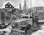 Old truck at Giant Mine town site in Yellowknife. Black and white Mining